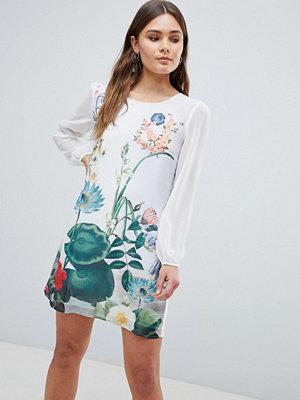 Yumi Lilypad Border Print Tunic Dress - Ivory