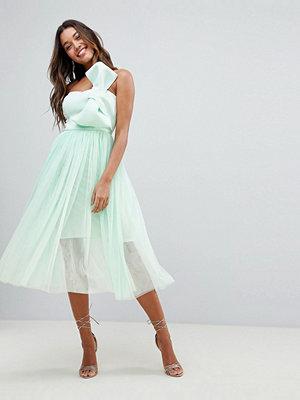 ASOS DESIGN premium scuba bow front tulle midi dress