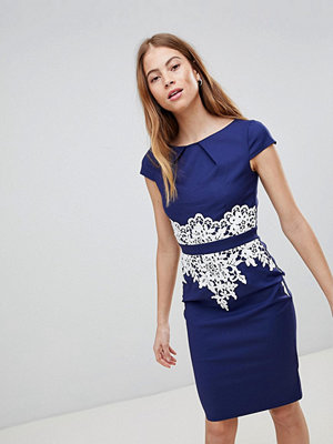 Paper Dolls Navy Lace Detail Dress - Navy cream