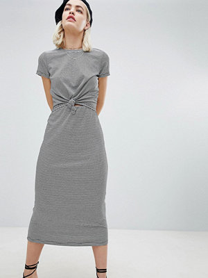 Emory Park Midi T-Shirt Dress With Tie Front In Fine Stripe