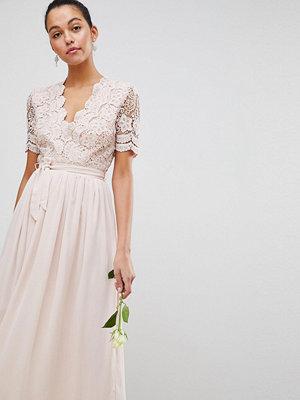 Club L Short Sleeve Crochet Lace Maxi Dress With V Neck - Light pink