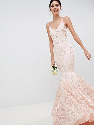 Club L Lace Bandeau Fishtail Maxi Dress With Sequin Detail - Light pink