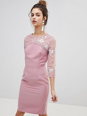 Little Mistress Embroidered Bodycon Dress - Blush