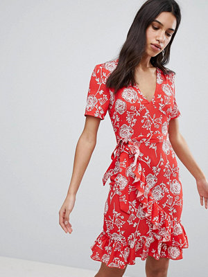 Parisian Floral Print Wrap Midi Dress