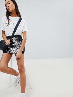 Parisian Denim Mini Skirt with Sequin Front
