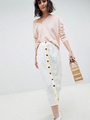 ASOS White Mixed Print Button Down Co-ord Skirt