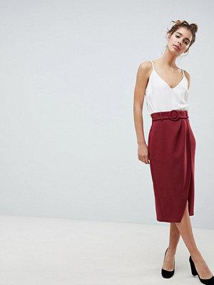 ASOS DESIGN wrap front midi skirt with self belt