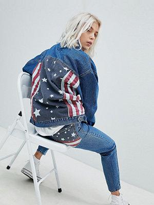 Pull&Bear Usa Flag Oversized Denim Jacket - Indigo