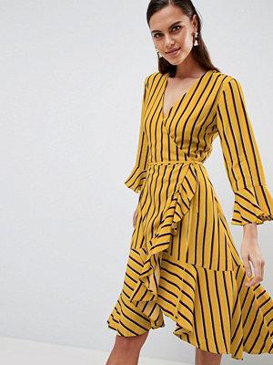 Y.a.s Striped Wrap Dress With Asymetric Ruffle Hem