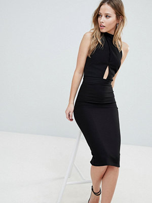 Oh My Love High Neck Cross Over Panel Midi Dress