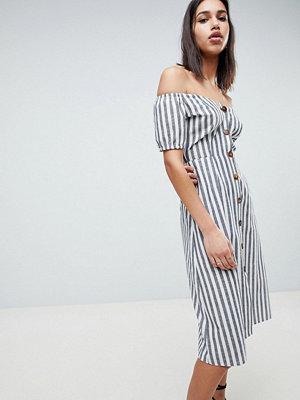 ASOS DESIGN Button Through Midi Off Shoulder Dress In Stripe