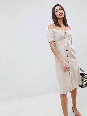 ASOS DESIGN Button Through Midi Off Shoulder Dress