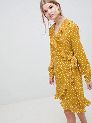 Selected Chanie Ruffle Polka Dot Wrap Dress - Honey