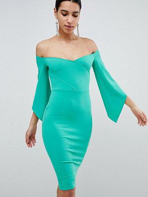 Club L Bardot Pencil Dress With 3/4 Sleeve