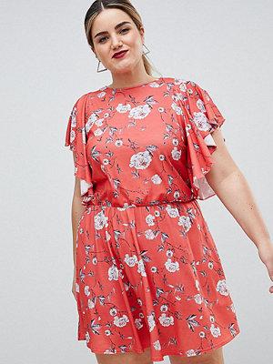 Club L Plus Printed Frill Sleeve Dress