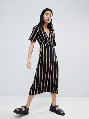 Pull&Bear Button Front Dress In Stripe