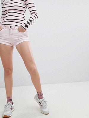 Bershka Rosa jeansshorts med hög midja