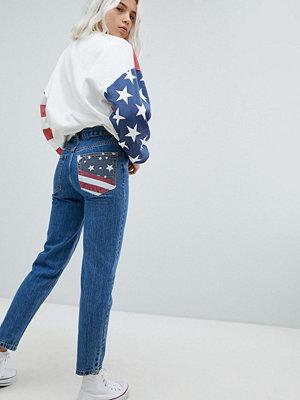 Pull&Bear Usa Flag Mom Jeans - Indigo
