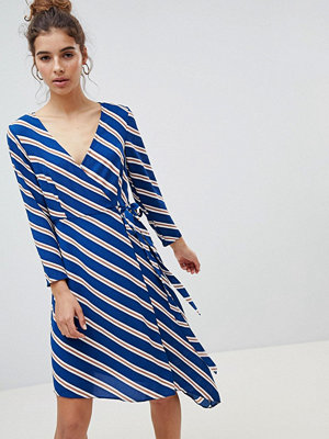New Look Wrap Asymmetric Stripe Midi Dress - Blue pattern