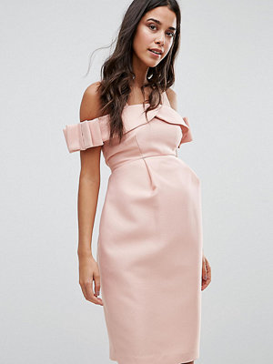 ASOS Maternity Bow Cold Shoulder Occasion Dress - Blush