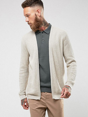 ASOS Textured Lightweight Cardigan In Oatmeal - Oatmeal