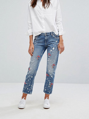 Tommy Jeans Tommy Hilfiger Denim Paint Splatter Embroidered Straight Crop Jean - Paint embroidery