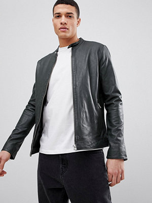 Skinnjackor - Lindbergh Leather Jacket in Khaki