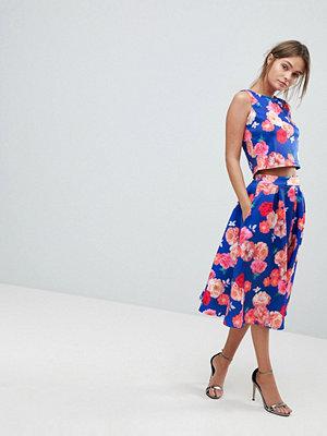 Paper Dolls Bold Floral Skater Midi Skirt - Blue rose print