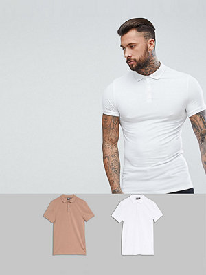 ASOS DESIGN muscle fit jersey polo 2 pack save - White/ baguette