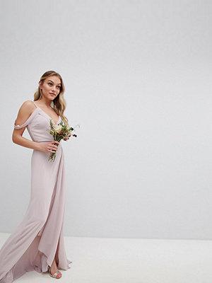 TFNC Petite Cold Shoulder Wrap Maxi Bridesmaid Dress With Fishtail - Mink