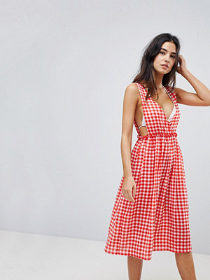 Lost Ink Gingham Maxi Beach Dress - Multi print red