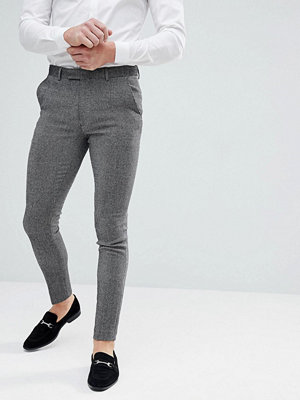 ASOS Super Skinny Smart Trousers In Dark Grey Wool Mix
