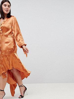 ASOS Curve ASOS DESIGN Curve soft floral jacquard midi dress with asymmetric hem