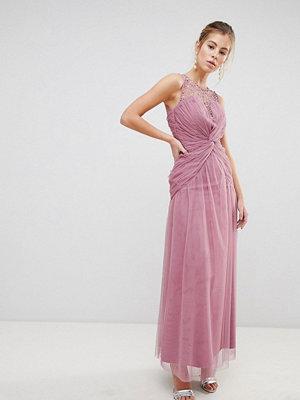 Little Mistress Knot Waist Maxi Dress - Rose