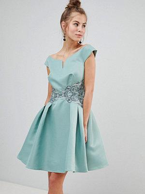 Little Mistress Bardot Prom Dress With Metallic Embroidered Waist - Sage