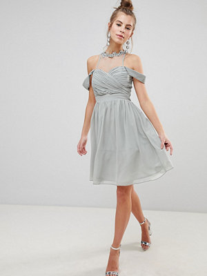 Little Mistress Chiffon Prom Dress With Floral Applique And Pearl Trim - Waterlily
