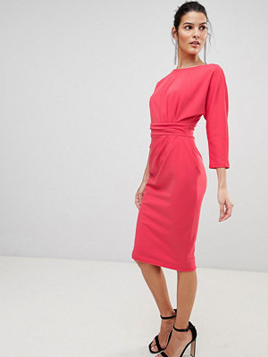 City Goddess Three Quarter Sleeved Midi Dress With Side Pleating Detail - Coral