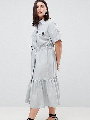 ASOS Curve ASOS DESIGN Curve linen maxi shirt dress with belt detail and pep hem
