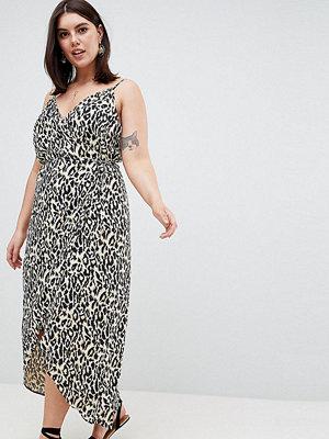 ASOS Curve ASOS DESIGN Curve cami wrap maxi dress in leopard print