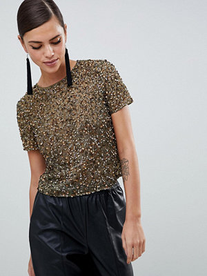 ASOS DESIGN T-shirt med paljetter Khakigrön