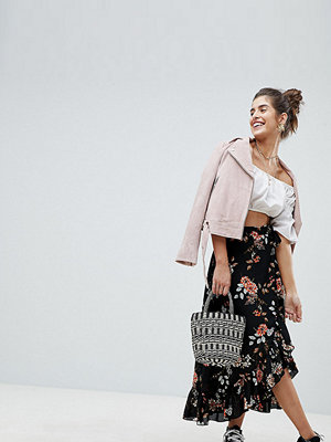 Reclaimed Vintage Inspired Floral Wrap Midi Skirt