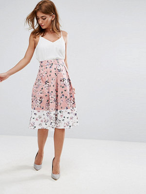 Vesper Midi Skirt In Floral Print With Contrast Border - Blush