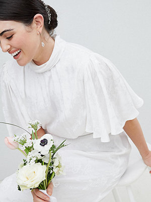 ASOS Curve ASOS Edition Curve Wedding Dress in soft jacquard with flutter sleeve