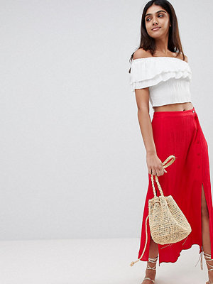 Asos Tall ASOS DESIGN Tall crinkle midi skirt with buttons and double split