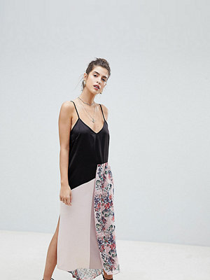 Reclaimed Vintage Satin Cami Dress With Floral Overlay - Multi