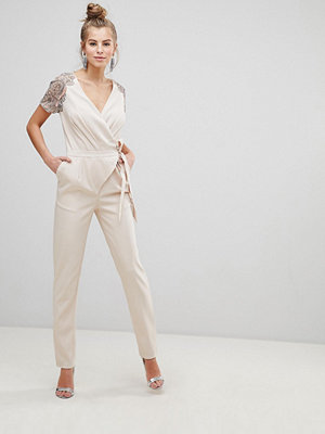 Little Mistress Wrap Belted Jumpsuit With Embroidered Sleeves - Beige