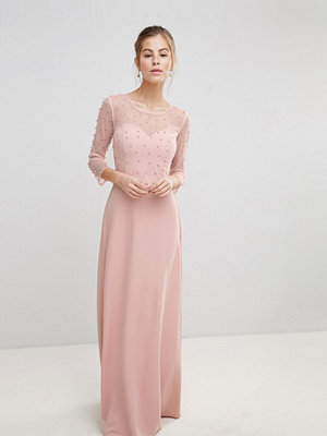 Little Mistress Maxi Dress With Sheer Mesh And Pearl Overlay