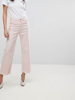 DL1961 Hepburn Crop Wide Leg Jean with Raw Hem - Blush pink
