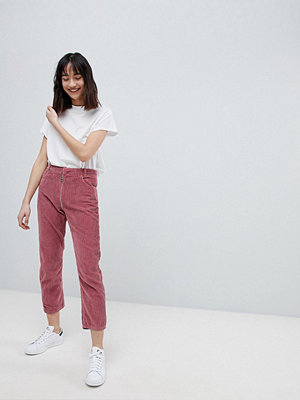 ASOS DESIGN High Waist Authentic Straight Leg Jeans With Back Zip Through Rise Detail In Pink Cord
