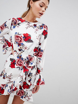 Parisian Floral Dress With Tie Waist And Sleeve Detail